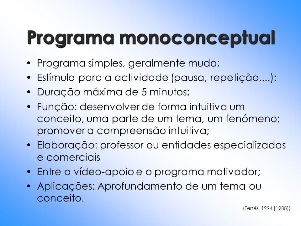 Programa monoconceptual Programa simples, geralmente mudo; Estímulo para a actividade (pausa, repetição,...); Duração máxima de 5 minutos; Função: des