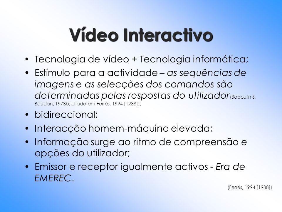 Vídeo Interactivo Tecnologia de vídeo + Tecnologia informática; Estímulo para a actividade – as sequências de imagens e as selecções dos comandos são