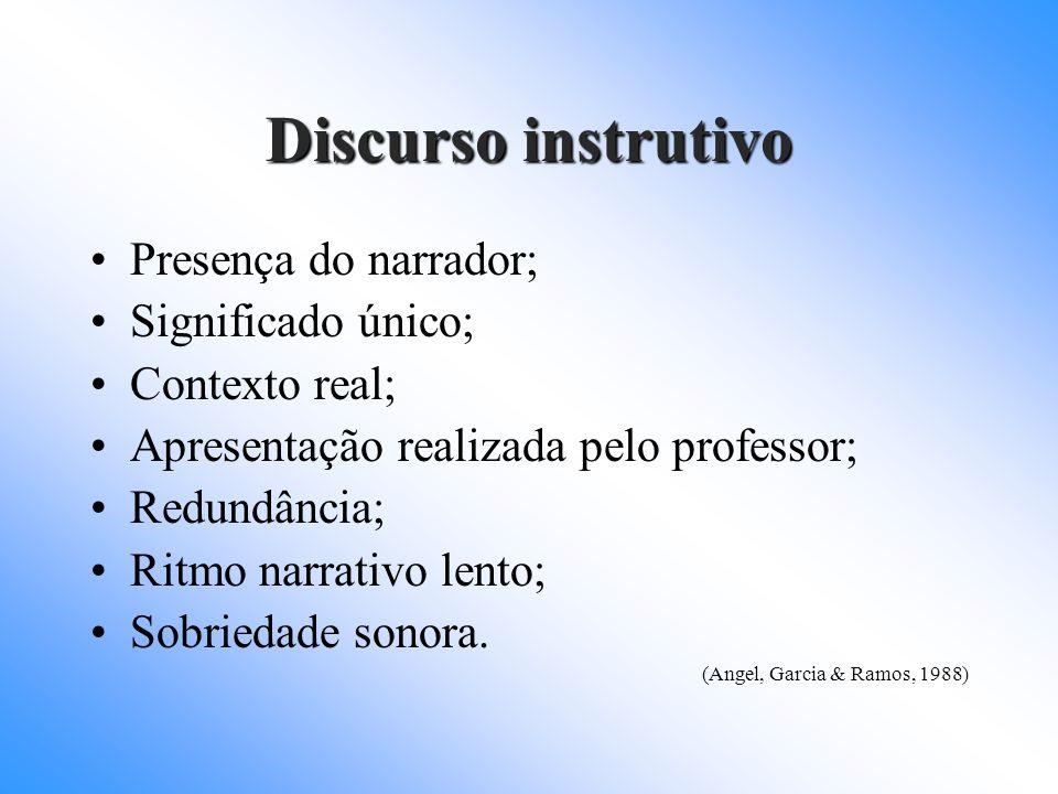 Discurso instrutivo Presença do narrador; Significado único; Contexto real; Apresentação realizada pelo professor; Redundância; Ritmo narrativo lento;