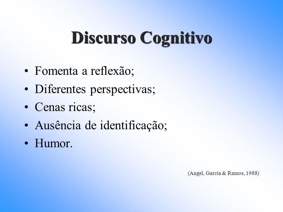 Discurso Cognitivo Fomenta a reflexão; Diferentes perspectivas; Cenas ricas; Ausência de identificação; Humor. (Angel, Garcia & Ramos, 1988)