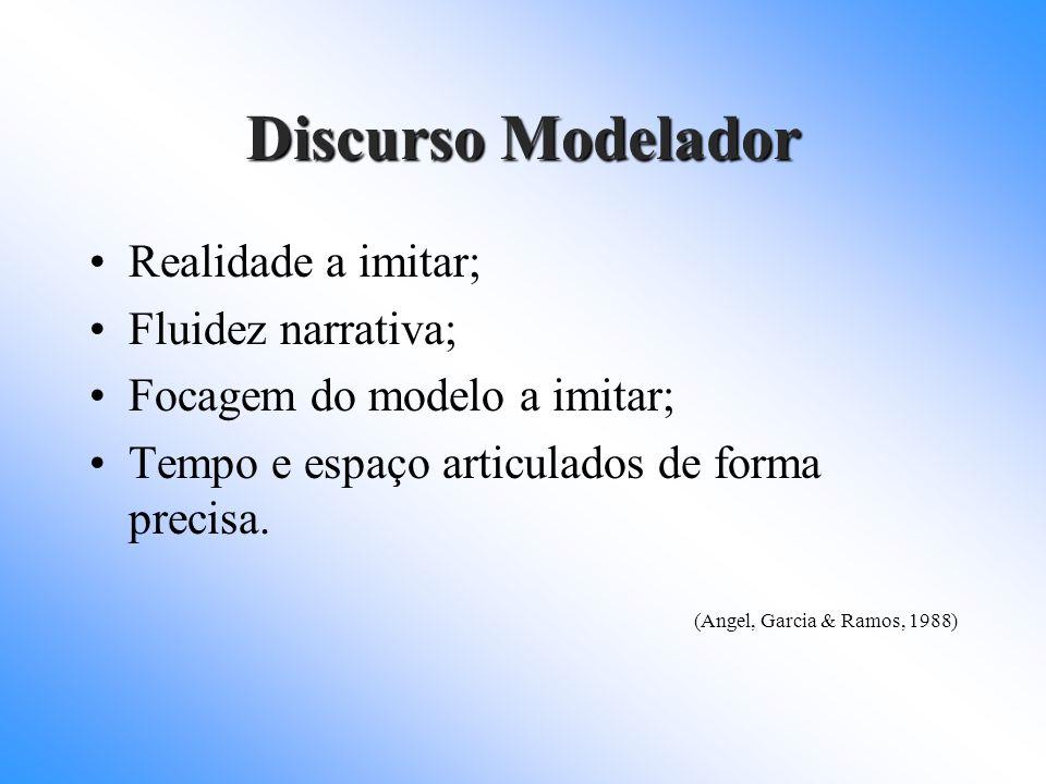 Discurso Modelador Realidade a imitar; Fluidez narrativa; Focagem do modelo a imitar; Tempo e espaço articulados de forma precisa. (Angel, Garcia & Ra
