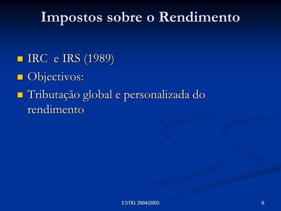 7ESTIG 2004/2005 Tributação do Património Imposto sobre sucessões e doações Imposto sobre sucessões e doações IMI IMI IMT IMT