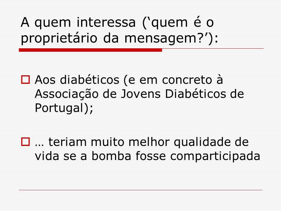 A quem interessa (quem é o proprietário da mensagem?): Aos diabéticos (e em concreto à Associação de Jovens Diabéticos de Portugal); … teriam muito me