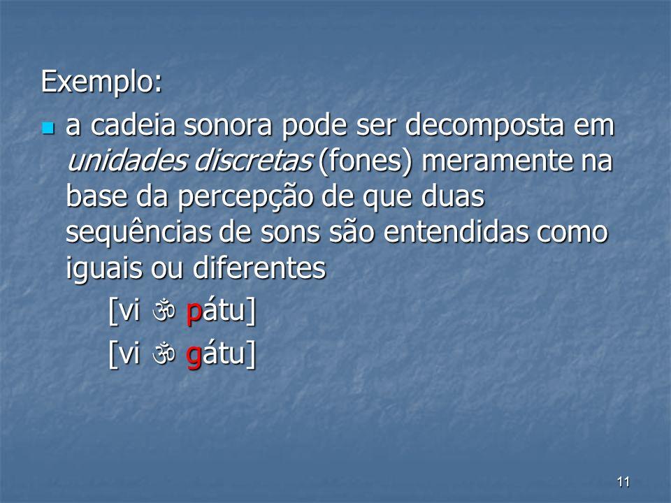 11 Exemplo: a cadeia sonora pode ser decomposta em unidades discretas (fones) meramente na base da percepção de que duas sequências de sons são entend