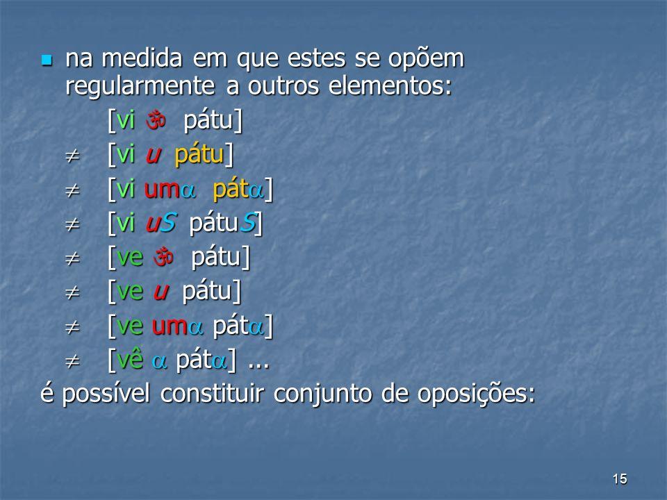 15 na medida em que estes se opõem regularmente a outros elementos: na medida em que estes se opõem regularmente a outros elementos: [vi pátu] [vi u p