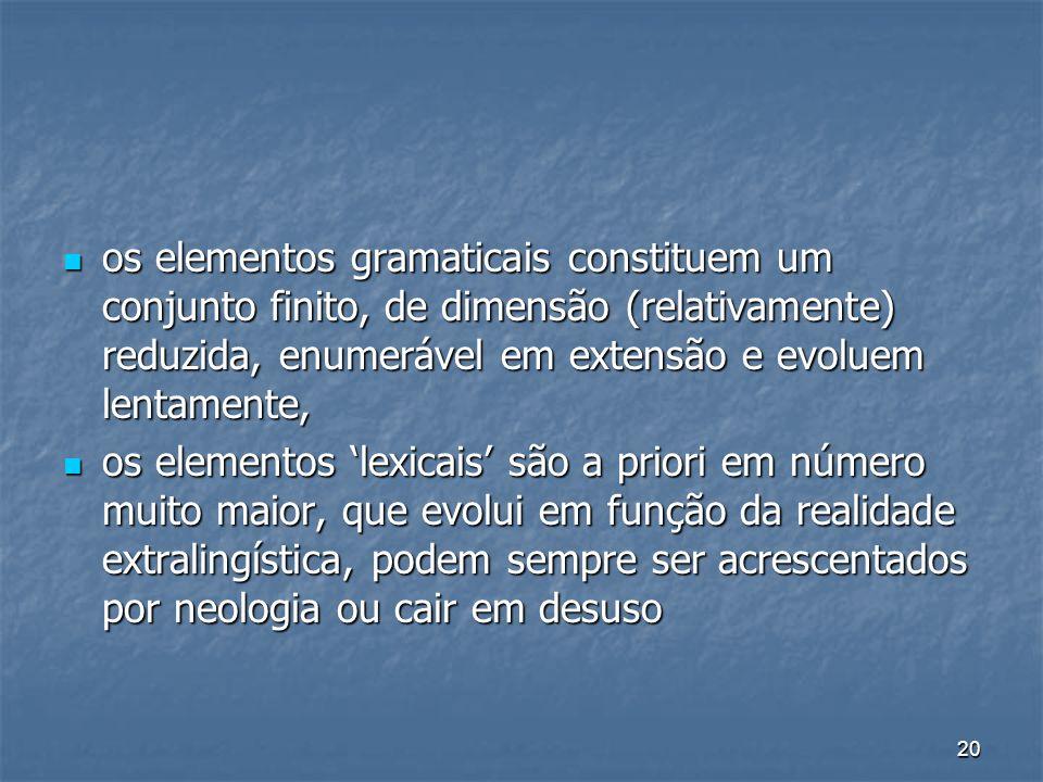 20 os elementos gramaticais constituem um conjunto finito, de dimensão (relativamente) reduzida, enumerável em extensão e evoluem lentamente, os eleme