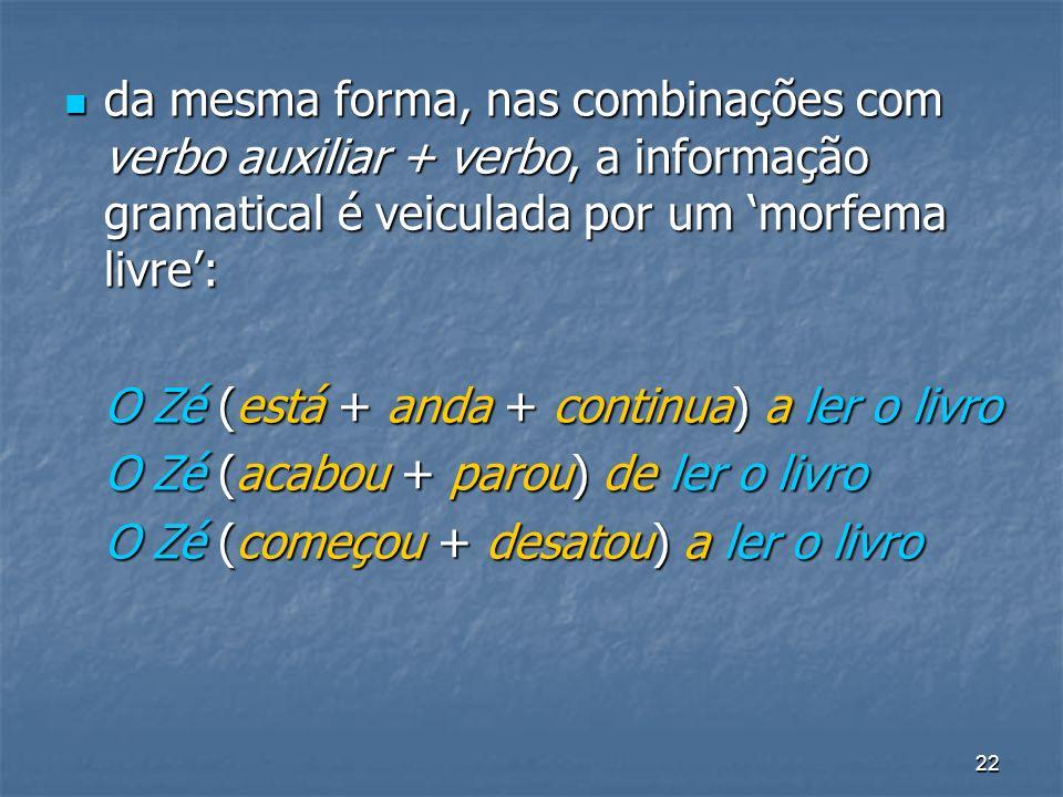 22 da mesma forma, nas combinações com verbo auxiliar + verbo, a informação gramatical é veiculada por um morfema livre: da mesma forma, nas combinaçõ
