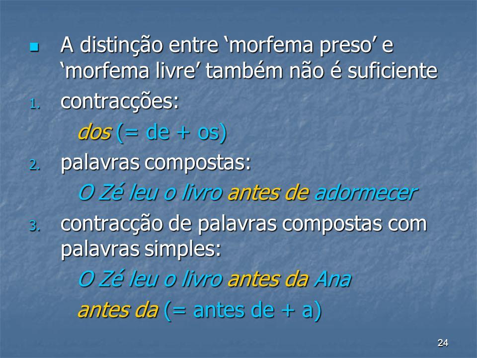 24 A distinção entre morfema preso e morfema livre também não é suficiente A distinção entre morfema preso e morfema livre também não é suficiente 1.