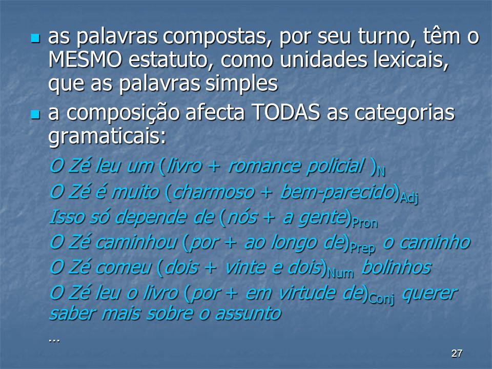 27 as palavras compostas, por seu turno, têm o MESMO estatuto, como unidades lexicais, que as palavras simples as palavras compostas, por seu turno, t