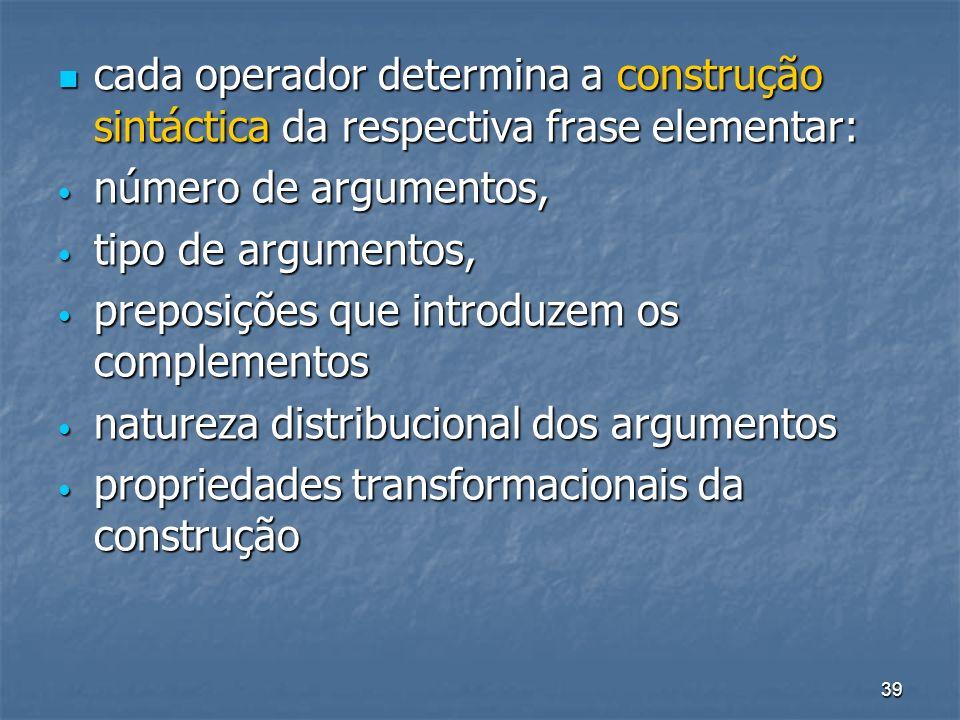 39 cada operador determina a construção sintáctica da respectiva frase elementar: cada operador determina a construção sintáctica da respectiva frase