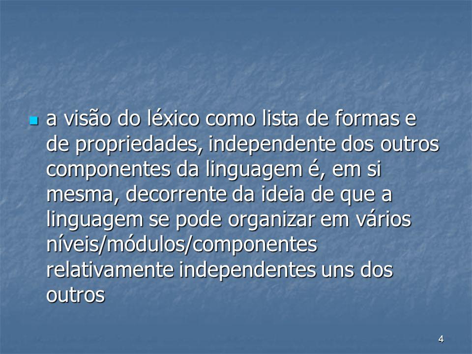 4 a visão do léxico como lista de formas e de propriedades, independente dos outros componentes da linguagem é, em si mesma, decorrente da ideia de qu