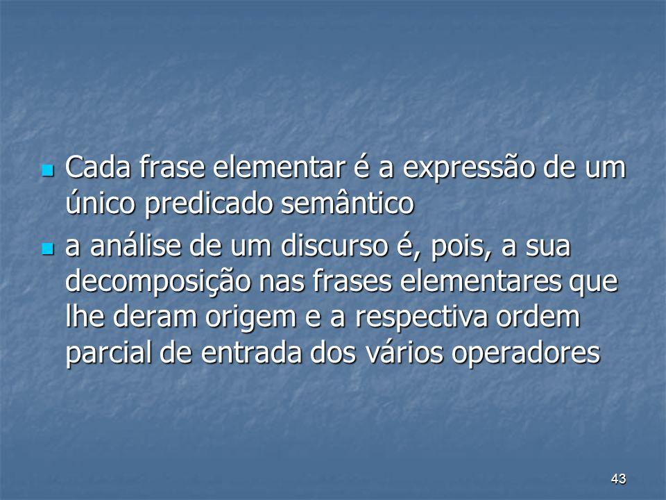 43 Cada frase elementar é a expressão de um único predicado semântico Cada frase elementar é a expressão de um único predicado semântico a análise de