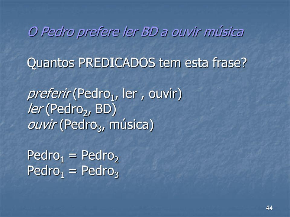 44 O Pedro prefere ler BD a ouvir música Quantos PREDICADOS tem esta frase? preferir (Pedro 1, ler, ouvir) ler (Pedro 2, BD) ouvir (Pedro 3, música) P