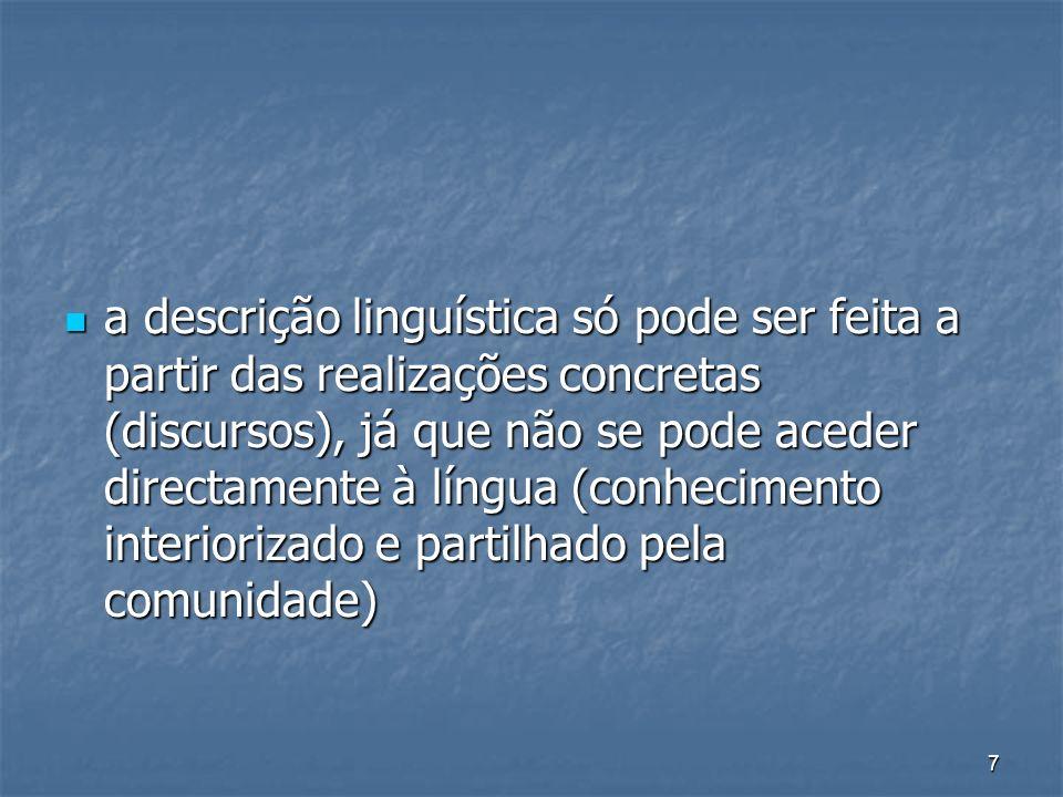 7 a descrição linguística só pode ser feita a partir das realizações concretas (discursos), já que não se pode aceder directamente à língua (conhecime