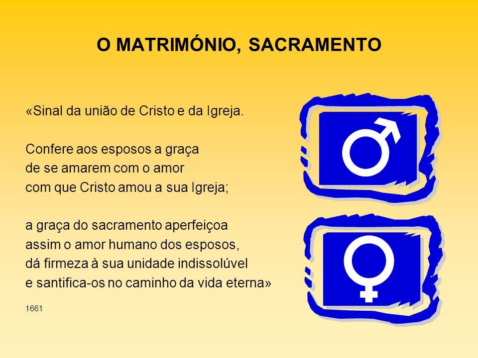 O MATRIMÓNIO, SACRAMENTO «Sinal da união de Cristo e da Igreja. Confere aos esposos a graça de se amarem com o amor com que Cristo amou a sua Igreja;