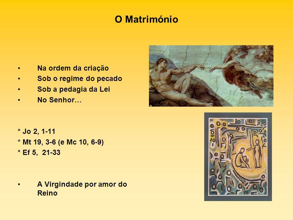 O Matrimónio Na ordem da criação Sob o regime do pecado Sob a pedagia da Lei No Senhor… * Jo 2, 1-11 * Mt 19, 3-6 (e Mc 10, 6-9) * Ef 5, 21-33 A Virgi
