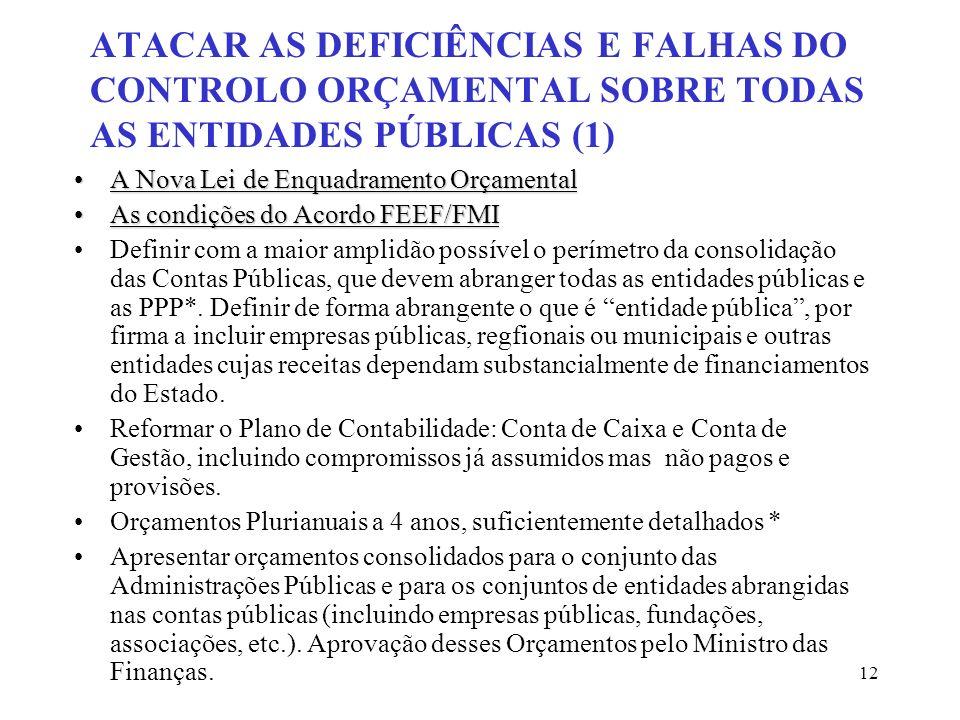 12 ATACAR AS DEFICIÊNCIAS E FALHAS DO CONTROLO ORÇAMENTAL SOBRE TODAS AS ENTIDADES PÚBLICAS (1) A Nova Lei de Enquadramento OrçamentalA Nova Lei de En