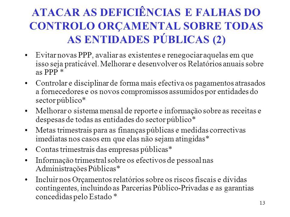 13 ATACAR AS DEFICIÊNCIAS E FALHAS DO CONTROLO ORÇAMENTAL SOBRE TODAS AS ENTIDADES PÚBLICAS (2) Evitar novas PPP, avaliar as existentes e renegociar a