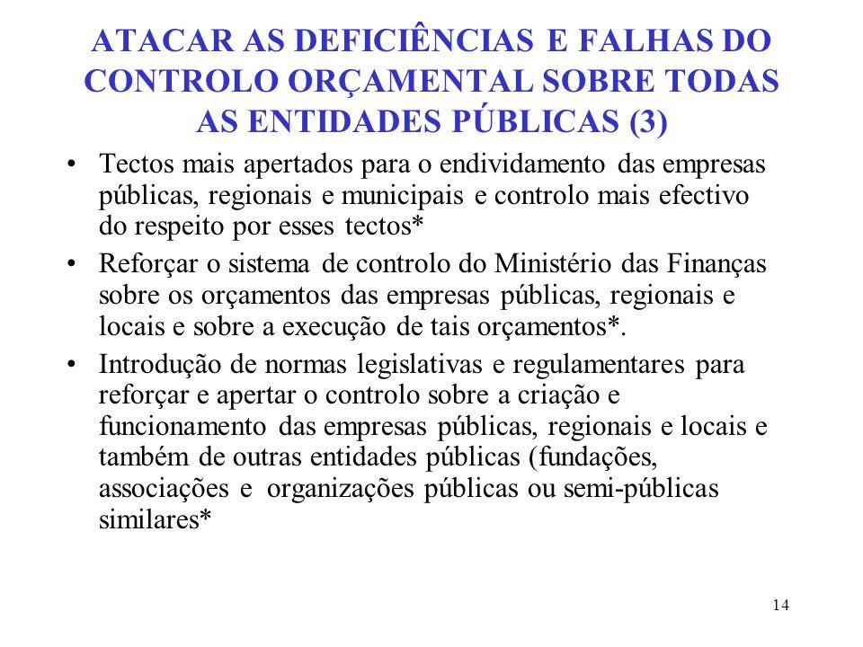 14 ATACAR AS DEFICIÊNCIAS E FALHAS DO CONTROLO ORÇAMENTAL SOBRE TODAS AS ENTIDADES PÚBLICAS (3) Tectos mais apertados para o endividamento das empresa