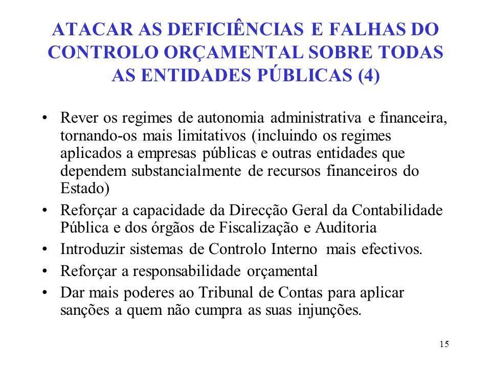 15 ATACAR AS DEFICIÊNCIAS E FALHAS DO CONTROLO ORÇAMENTAL SOBRE TODAS AS ENTIDADES PÚBLICAS (4) Rever os regimes de autonomia administrativa e finance