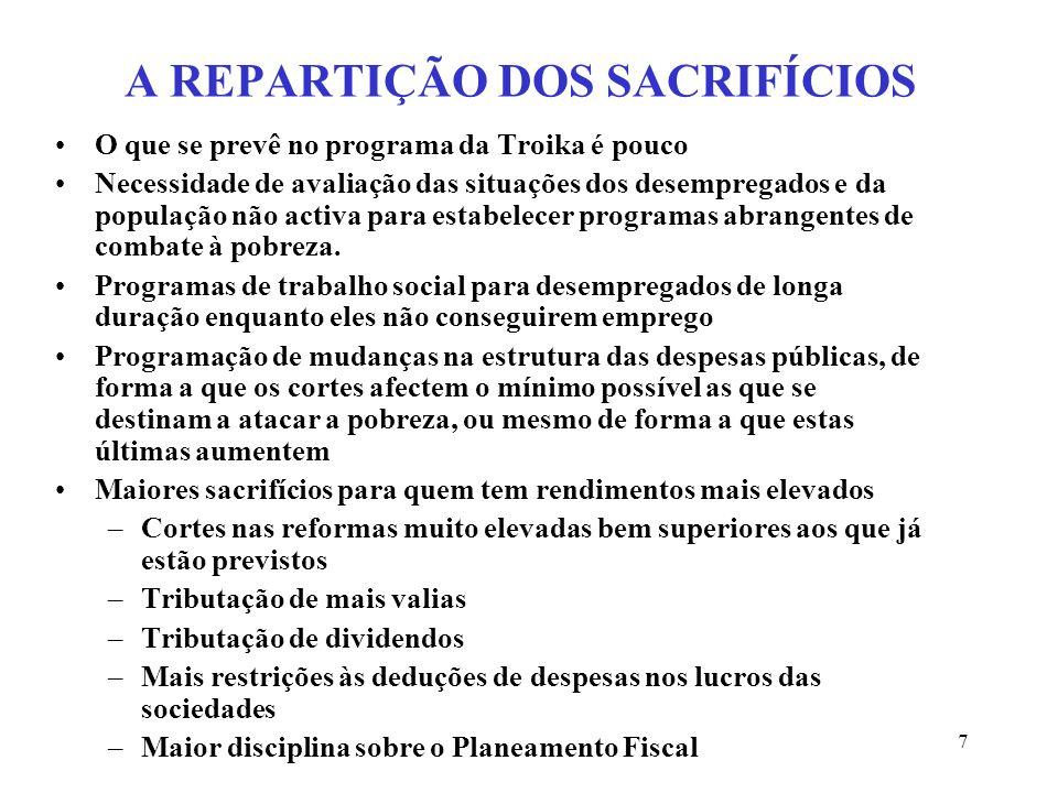 7 A REPARTIÇÃO DOS SACRIFÍCIOS O que se prevê no programa da Troika é pouco Necessidade de avaliação das situações dos desempregados e da população nã