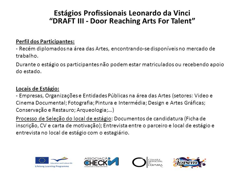 Perfil dos Participantes: - Recém diplomados na área das Artes, encontrando-se disponíveis no mercado de trabalho. Durante o estágio os participantes