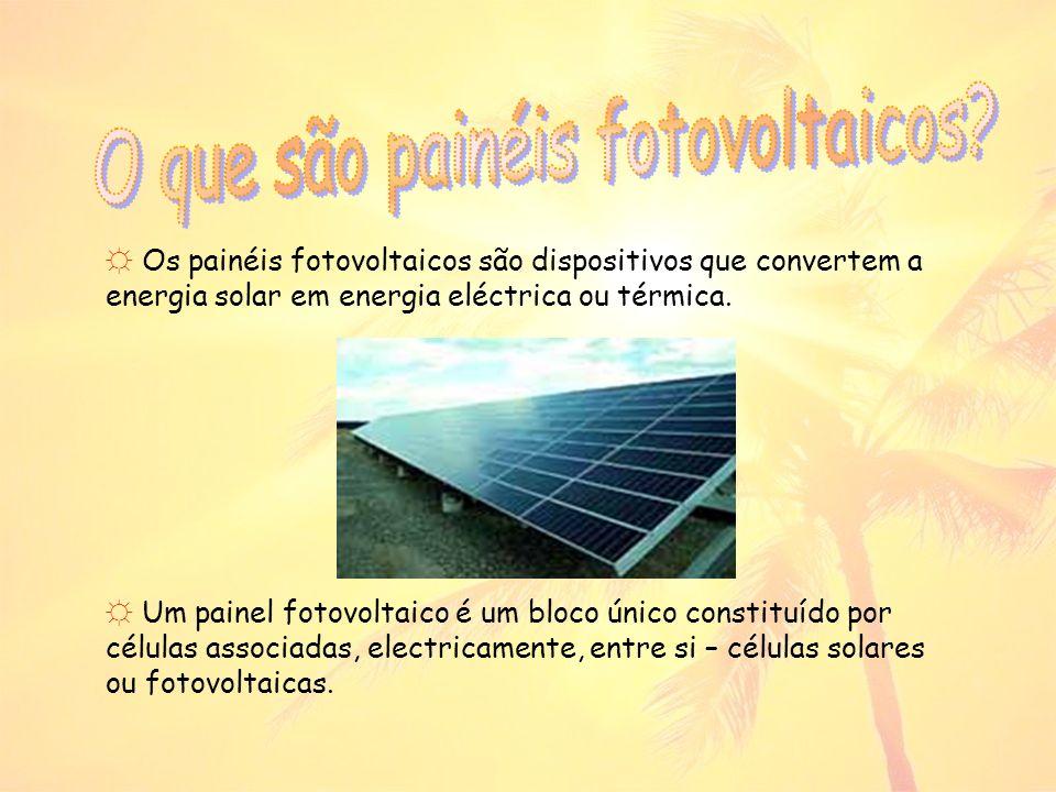 Os painéis fotovoltaicos são dispositivos que convertem a energia solar em energia eléctrica ou térmica.