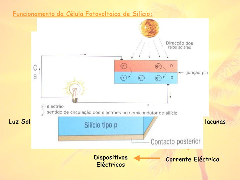 Funcionamento da Célula Fotovoltaica de Silício: Luz Solar Célula Fotovoltaica (peça do tipo n) Pares electrões-lacunas Corrente Eléctrica Dispositivos Eléctricos
