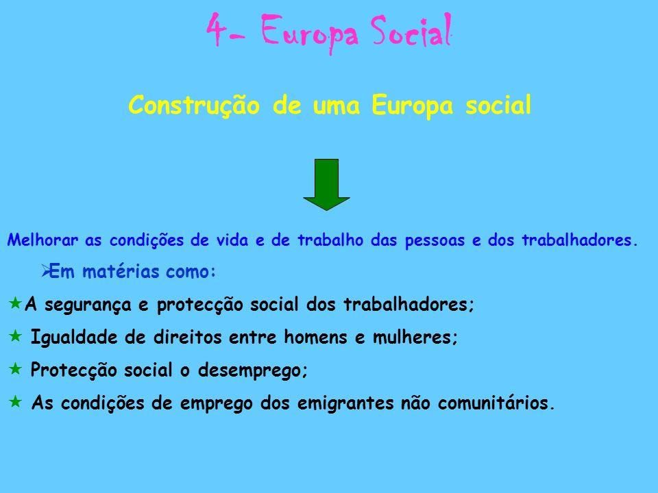 4- Europa Social Construção de uma Europa social Melhorar as condições de vida e de trabalho das pessoas e dos trabalhadores. Em matérias como: A segu