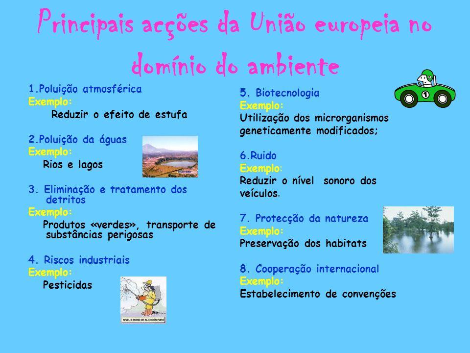 Principais acções da União europeia no domínio do ambiente 1.Poluição atmosférica Exemplo: Reduzir o efeito de estufa 2.Poluição da águas Exemplo: Rio