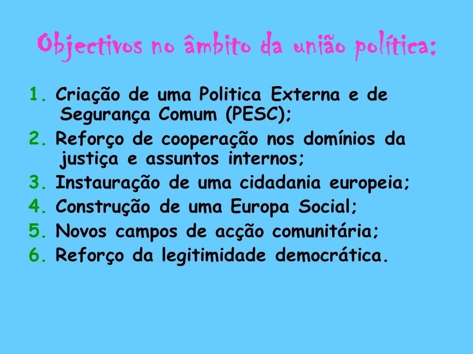 Objectivos no âmbito da união política: 1. Criação de uma Politica Externa e de Segurança Comum (PESC); 2. Reforço de cooperação nos domínios da justi