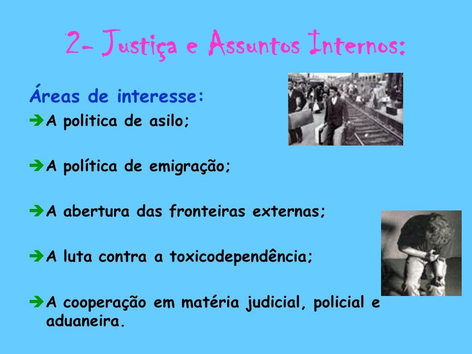 2- Justiça e Assuntos Internos: Áreas de interesse: A politica de asilo; A política de emigração; A abertura das fronteiras externas; A luta contra a