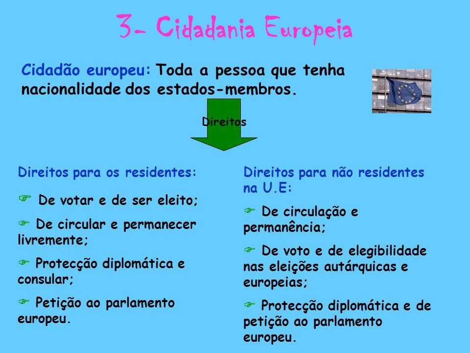 3- Cidadania Europeia Cidadão europeu: Toda a pessoa que tenha nacionalidade dos estados-membros. Direitos Direitos para os residentes: De votar e de