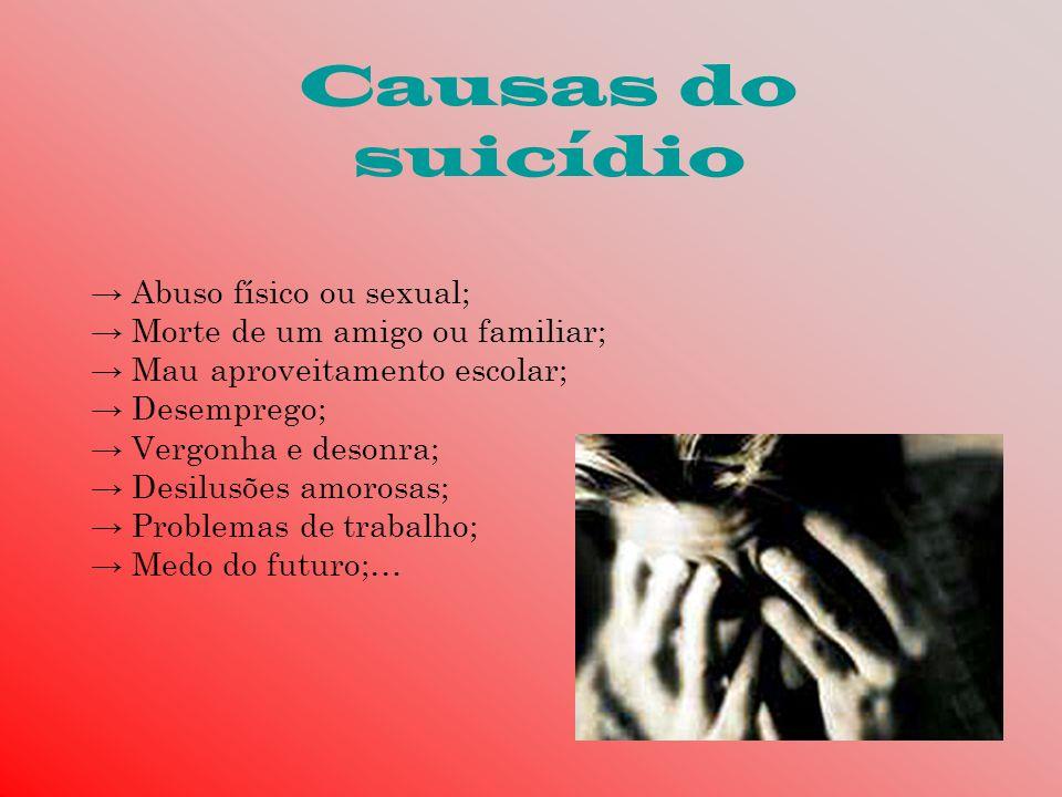 Causas do suicídio Abuso físico ou sexual; Morte de um amigo ou familiar; Mau aproveitamento escolar; Desemprego; Vergonha e desonra; Desilusões amoro