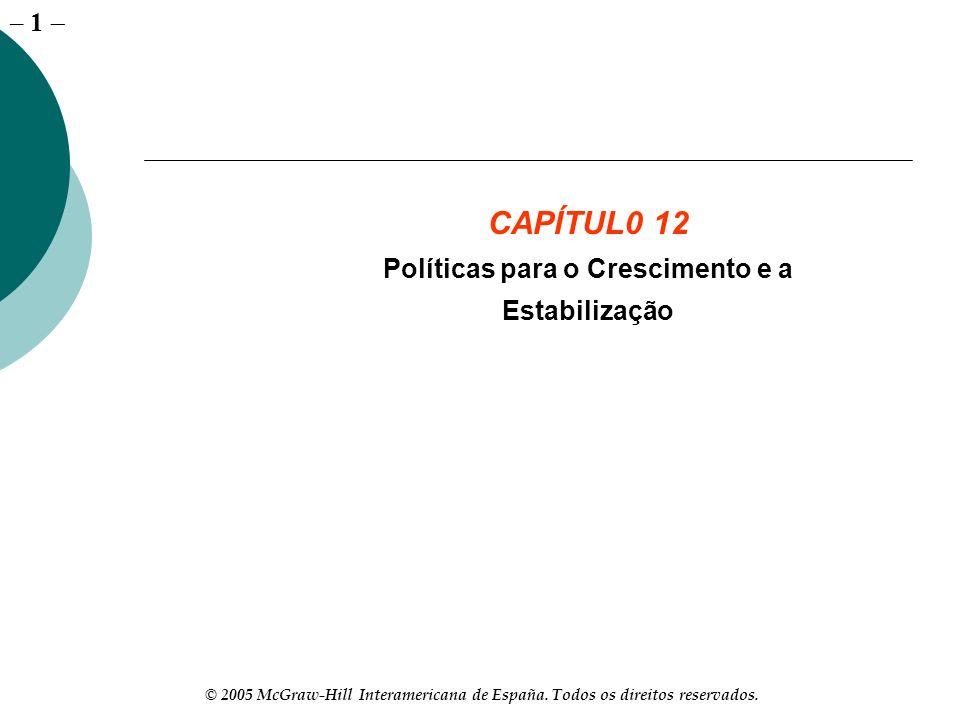 – 1 © 2005 McGraw-Hill Interamericana de España. Todos os direitos reservados. CAPÍTUL0 12 Políticas para o Crescimento e a Estabilização
