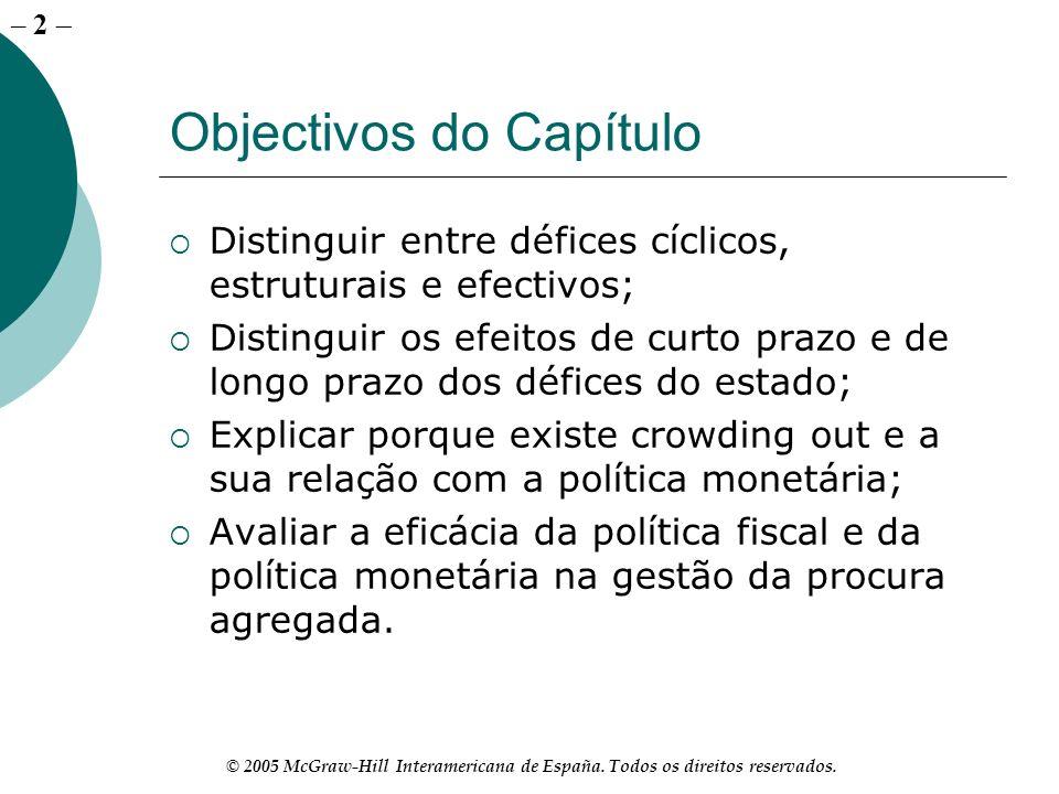– 2 © 2005 McGraw-Hill Interamericana de España. Todos os direitos reservados. Objectivos do Capítulo Distinguir entre défices cíclicos, estruturais e