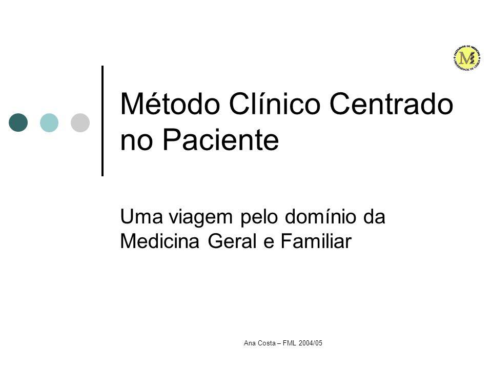 Ana Costa – FML 2004/05 Método Clínico Centrado no Paciente Introdução A Medicina está em constante mudança Ciência Tecnologia Sociedade Influenciam esse percurso...