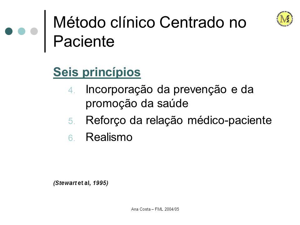 Ana Costa – FML 2004/05 Método clínico Centrado no Paciente Seis princípios 4. Incorporação da prevenção e da promoção da saúde 5. Reforço da relação