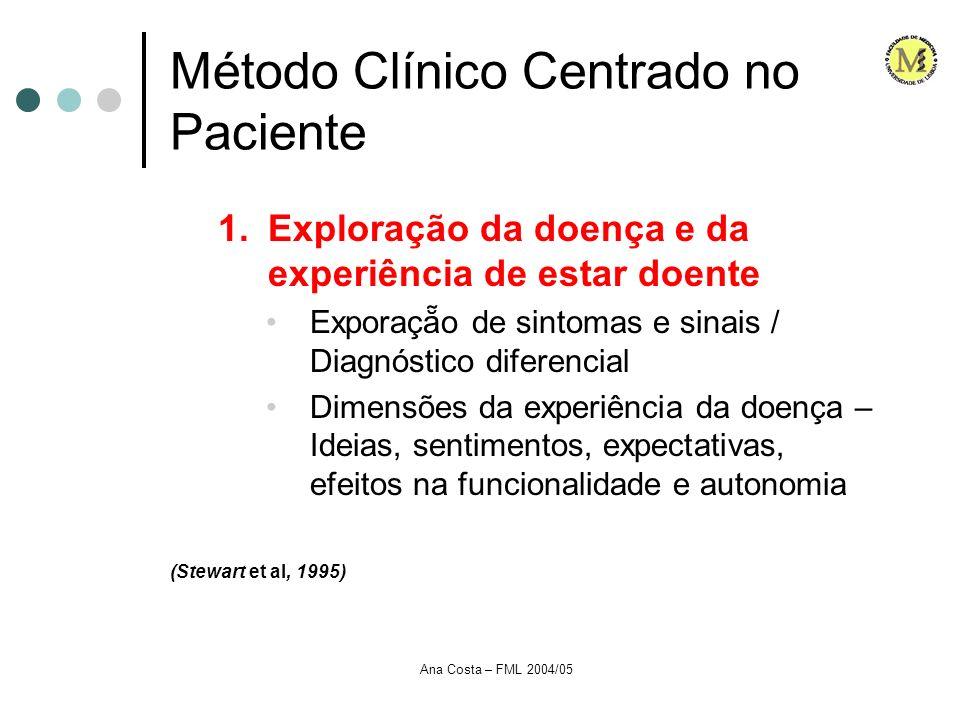 Ana Costa – FML 2004/05 Método Clínico Centrado no Paciente 1.Exploração da doença e da experiência de estar doente Exporaço de sintomas e sinais / Di