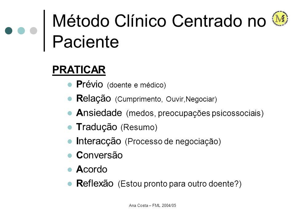 Ana Costa – FML 2004/05 Método Clínico Centrado no Paciente PRATICAR Prévio (doente e médico) Relação (Cumprimento, Ouvir,Negociar) Ansiedade (medos,