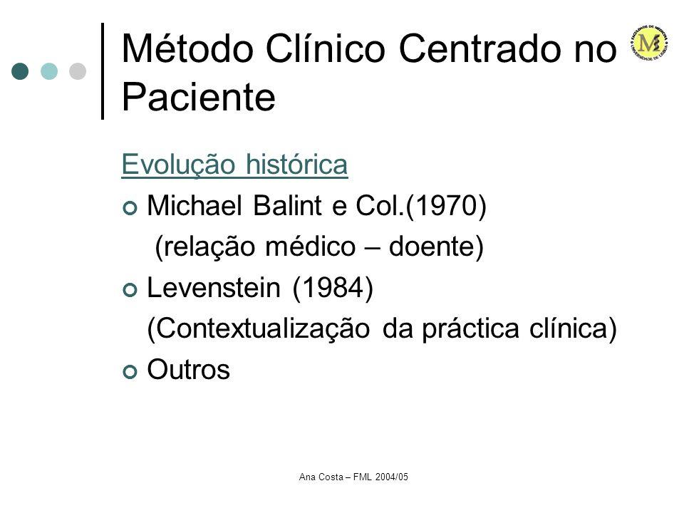 Ana Costa – FML 2004/05 Método Clínico Centrado no Paciente Evolução histórica Michael Balint e Col.(1970) (relação médico – doente) Levenstein (1984)
