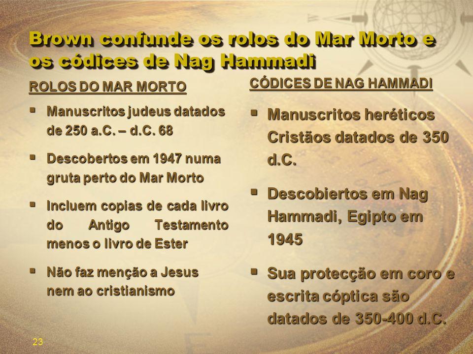 23 Brown confunde os rolos do Mar Morto e os códices de Nag Hammadi CÓDICES DE NAG HAMMADI Manuscritos heréticos Cristãos datados de 350 d.C. Manuscri