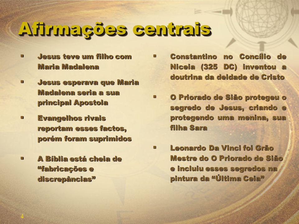 4 Afirmações centrais Jesus teve um filho com Maria Madalena Jesus teve um filho com Maria Madalena Jesus esperava que Maria Madalena seria a sua prin