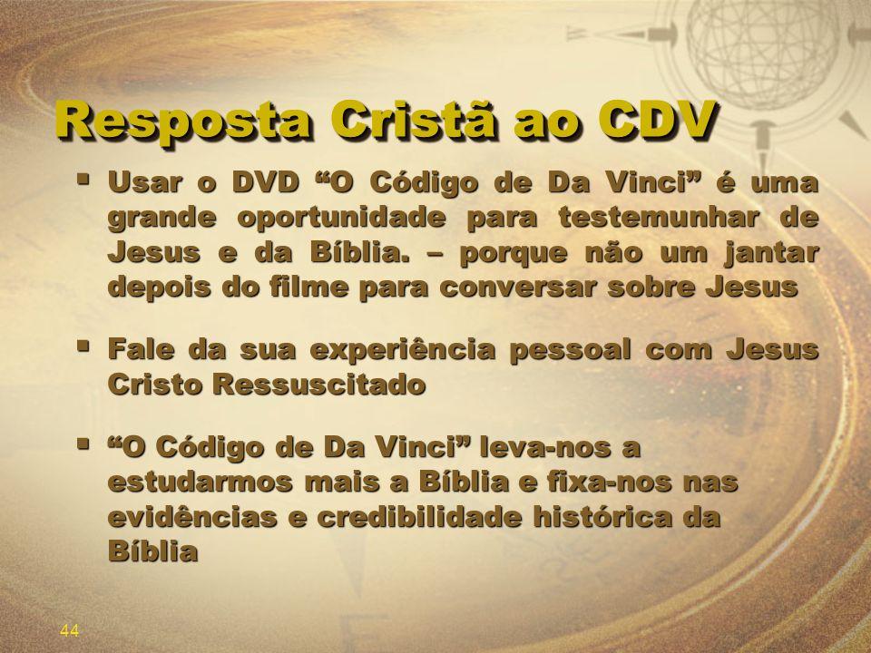 44 Resposta Cristã ao CDV Usar o DVD O Código de Da Vinci é uma grande oportunidade para testemunhar de Jesus e da Bíblia. – porque não um jantar depo