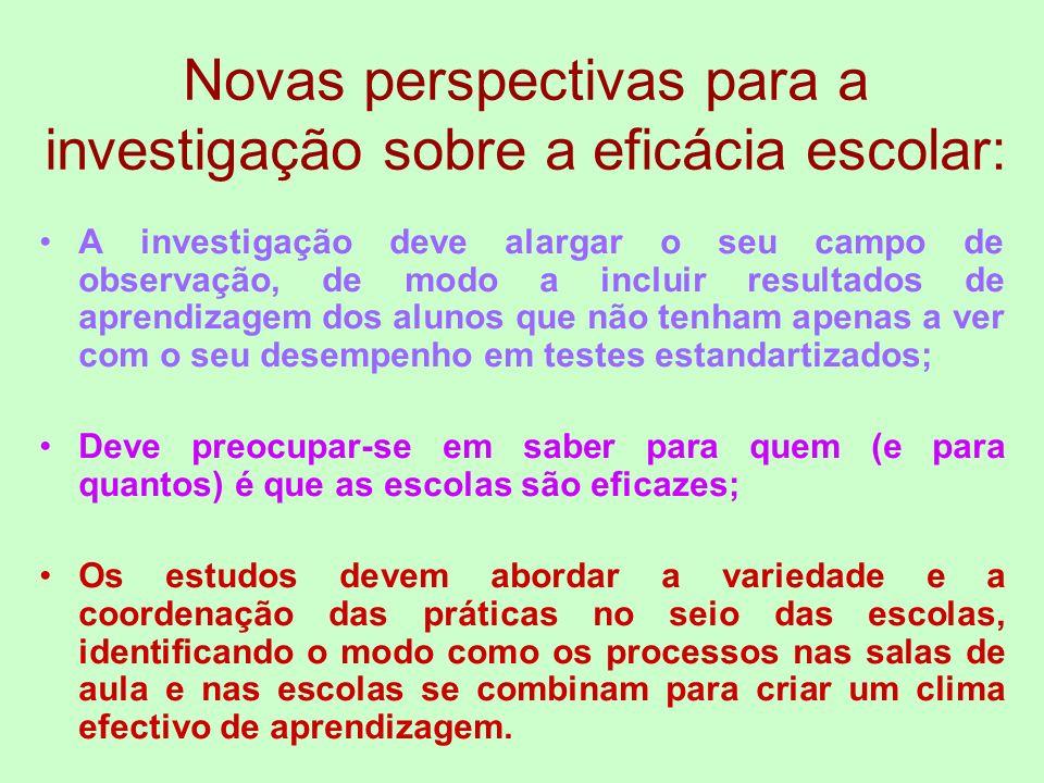 Novas perspectivas para a investigação sobre a eficácia escolar: A investigação deve alargar o seu campo de observação, de modo a incluir resultados d