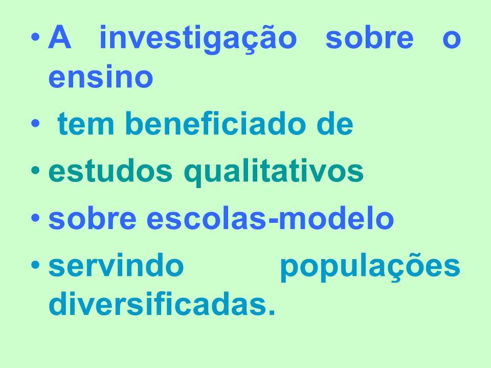 A investigação sobre o ensino tem beneficiado de estudos qualitativos sobre escolas-modelo servindo populações diversificadas.
