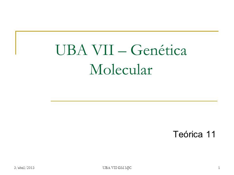UBA VII – Genética Molecular Teórica 11 3/abril/2013UBA VII GM MJC1