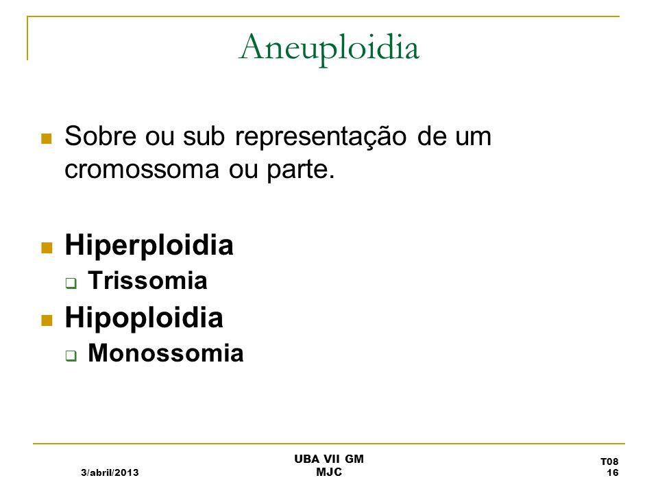 Aneuploidia Sobre ou sub representação de um cromossoma ou parte. Hiperploidia Trissomia Hipoploidia Monossomia 3/abril/2013 T08 16 UBA VII GM MJC