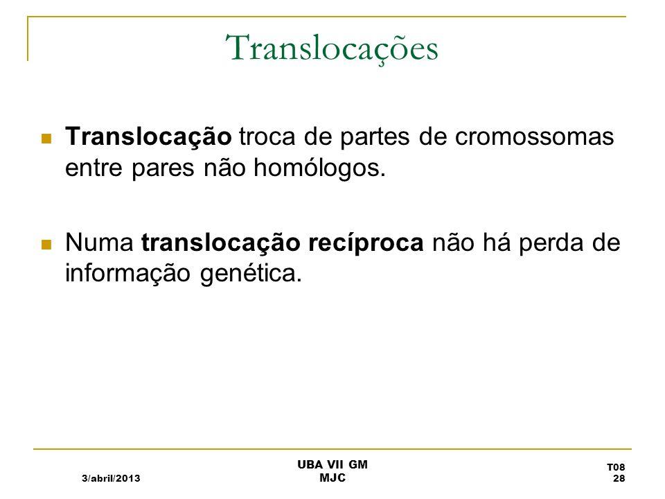 Translocações Translocação troca de partes de cromossomas entre pares não homólogos. Numa translocação recíproca não há perda de informação genética.