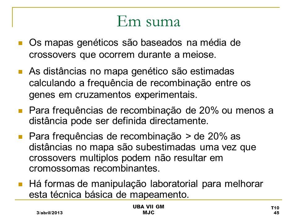 Em suma Os mapas genéticos são baseados na média de crossovers que ocorrem durante a meiose. As distâncias no mapa genético são estimadas calculando a